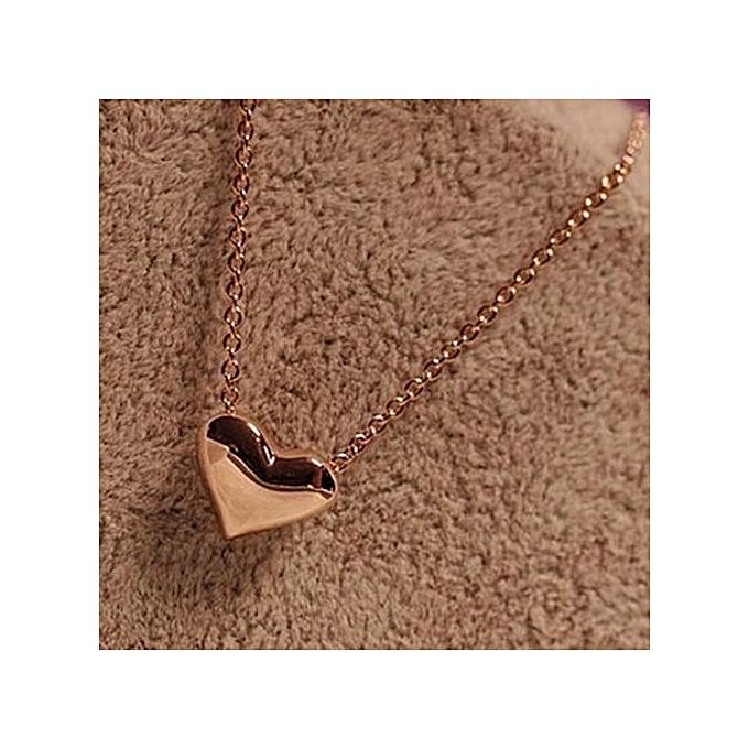 Olivaren Fashion Women Gold Heart Bib Statement Chain Pendant Necklace Jewelry -Gold