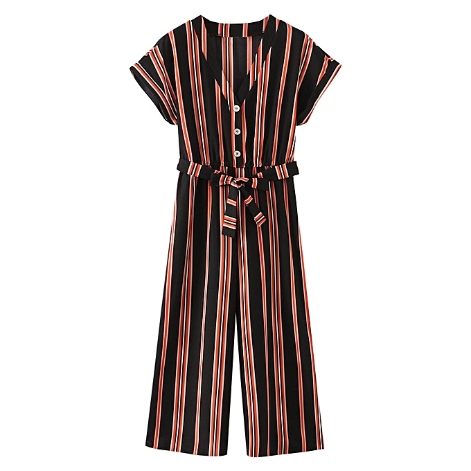 Buy Authentic look out for structural disablities Stripes Half Buttoned Belted Wide Leg Jumpsuit,Multi