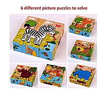 9 Piece Colorful Wooden Block Picture Puzzle  (Animal Theme) - Random