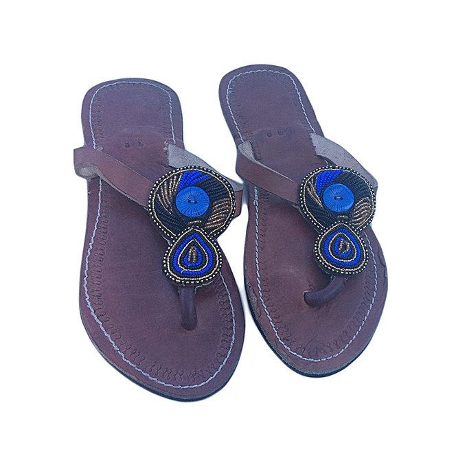 88dfe986851c Ladies Beaded African Leather Flat Maasai Sandals - Multicolor