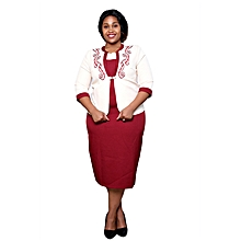 Maroon/Cream Ladies Turkey Office Wear Mid Dress.