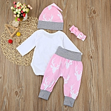 Newborn Kids Baby Girls Boys Outfits Clothes Romper Tops+Pants+Hat+Headband Set