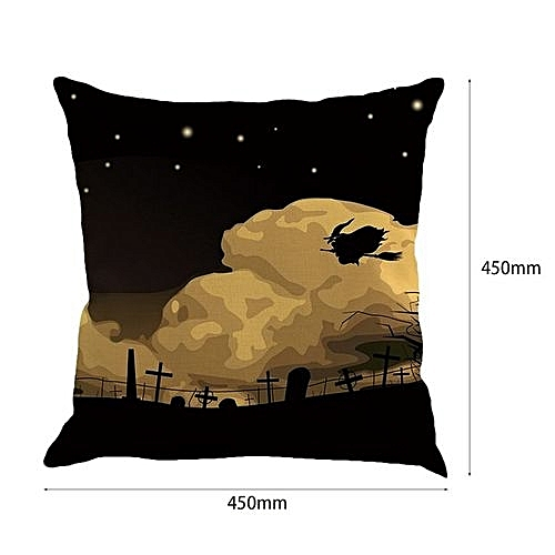 Halloween Pillowcase Cushion Cover Black Night Witch Pumpkin Bat Spider