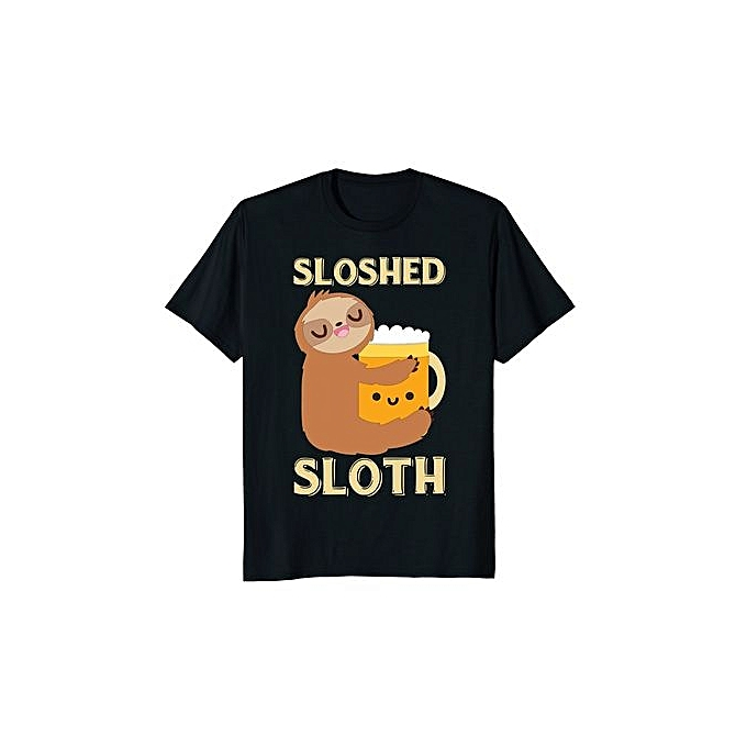 ca8cc71a0 Sloshed Sloth Funny Beer Drinking Fathers Day T-shirt Men Graphic T-shirt  Casual