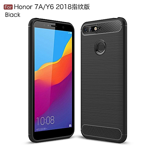 newest 3cddf 22a70 Generic Shockproof Phone Case For Huawei Y6 2018 Carbon Fiber TPU ...