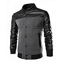 Men's Patchwork Bomber Jacket - Black/Grey