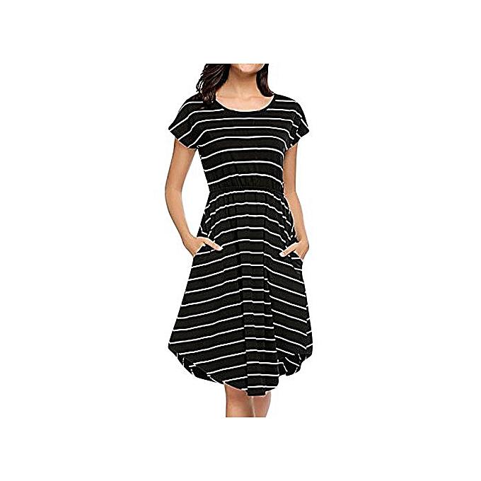 201bdc5a67af Hiaojbk Store Women's Casual Short Sleeve Elastic Waist Striped Dress With  Pockets-Black
