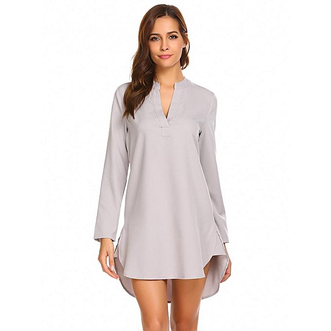 Buy Sunshine Women V Neck Long Sleeve Solid Sleepshirts Nightgowns ...