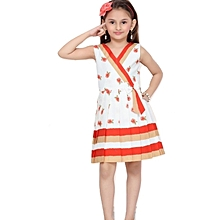 Sleeveless Red cotton dress with floral pattern