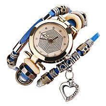 guoaivo CCQ Brand Vintage Cow Leather Bracelet Watch Men Women Wristwatch Quartz  -Blue