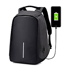 Anti-theft USB Charging Port Business Backpack -Black