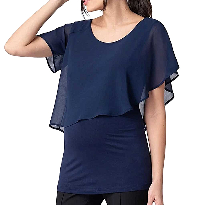 02db8ca1e Women's Maternity Nursing Short Sleeve Tops Solid Breastfeeding T-Shirt