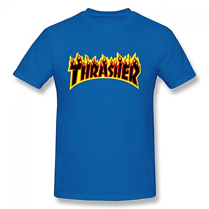 0e85176309e5 Generic Thrasher Flame Logo Men's Cotton Short Sleeve Print T-shirt Blue