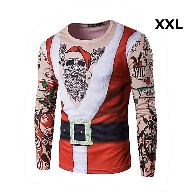 593d1ada94 Christmas Santa Claus Tattoo 3D Print Long Sleeve Mens T-shirt Costume  Clothes 2XL