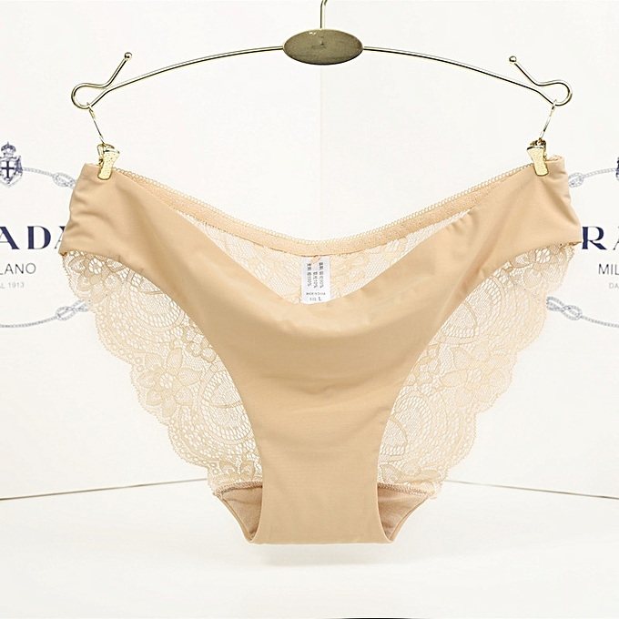 1e1a304359f One piece ice silk seamless underwear female sense transparent lace ladies  low waist briefs-beige