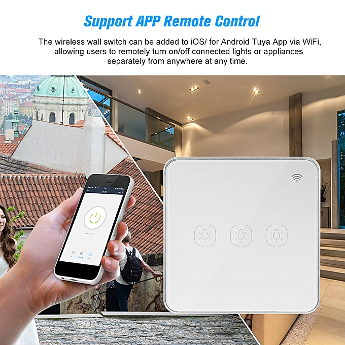 WIFI Smart Touch Switch Wireless 3 Gang Glass Wall Light Switch UK Phone  APP Remote Control Timing Function Compatible with Amazon Alexa and Google