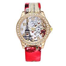 Blicool Wrist Watch Vintage Paris Eiffel Tower Women Fashion Watch Crystal Leather Quartz Wristwatch-red
