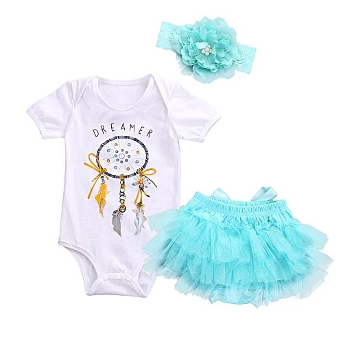 17c627979 Fashion Newborn Baby Girl Dreamcatcher Romper+Tutu Skirt Princess Dress  Tulle Outfits Clothes 3pcs Sets Suits Musiccool