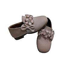 Girls casual shoes with Glitter And Flower Decoration  -Baby Pink