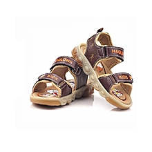 Haolong Open Brown Boys' Sandals with LED Lights soles.