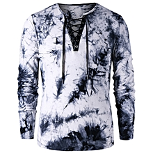 Men Tie Dye Lace Up T-Shirt - Colormix