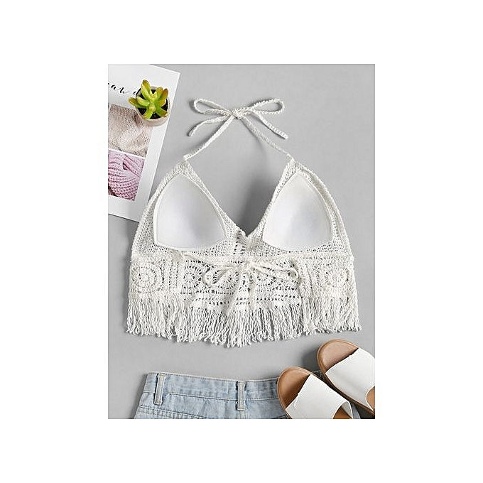 af41f5232a8 Fashion Crochet Padded Bralette Crop Top - WHITE @ Best Price Online ...