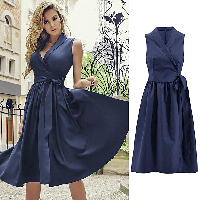67352ebac2 whiskyky store Womens Holiday Sexy Sleeveless Bowknot Ladies Summer Beach  Buttons Party Dress