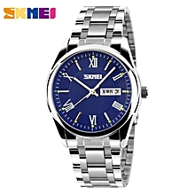 Hiamok_Men Fashion Military Stainless Steel Analog Date Sport Quartz Wrist Watch BU