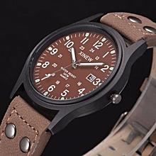 jiuhap store Vintage Classic Men's Waterproof Date Leather Strap Sport Quartz Army Watch-coffee