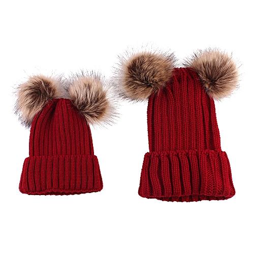 0158524f8 2PCS Mom Mother Baby Knit Pom Bobble Hat Kids Girls Boys Winter Warm Beanie  Hat