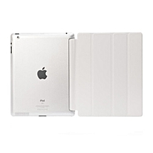 2 in 1 iPad 2/3/4 Case Plus Tempered Glass Tablet Smart Cover + Slim Transparent Back Case for Apple iPad 2/3/4 (White) HSL-G