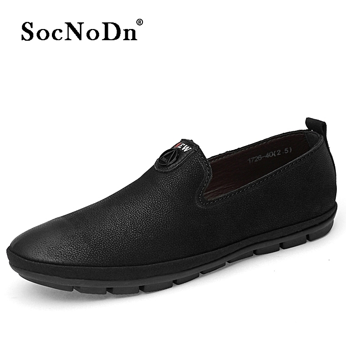 76fb16203909 SocNoDn Men Fashion Casual Genuine Leather Shoes Flat Loafers Black ...