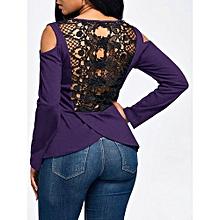 Long Sleeve Lace Back Cold Shoulder T-shirt - PURPLE