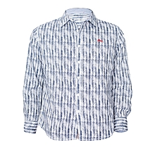 Blue Printed Long Sleeved Slim Fit Shirt