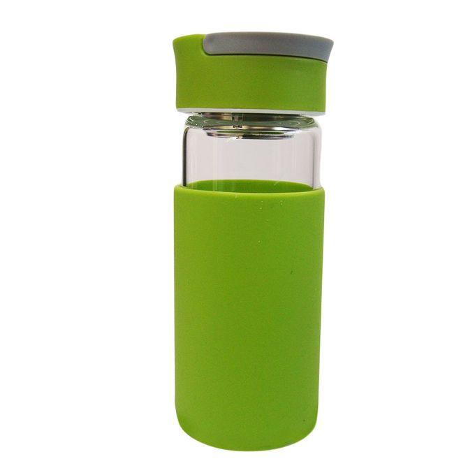 Water Bottle Kenya: ARKMAN Glass Water Bottle - 370ml - Luminous Green