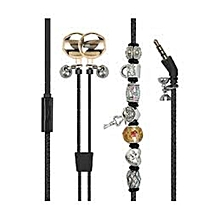 VOGUE-2 Black Wearable Bracelet Earphones with Pandora Beads & Built-In Mic