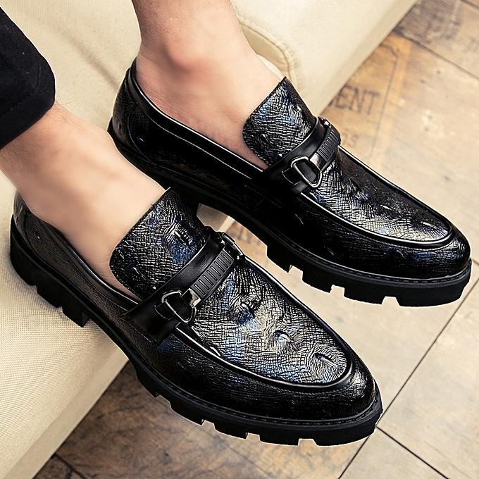 f848cf6893b2 Tauntte Platform Moccasins Men Alligator Formal Shoes (Blue)   Best ...