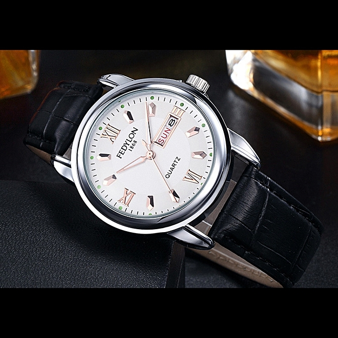 cc1fc09643352 Men Quartz Watch Week Calendar Luminous Stainless Steel Leather Strap Wrist  Watch Black Leather Gold White