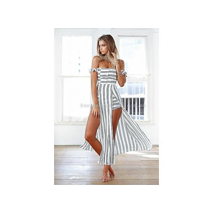 10c31d38e81 Fashion YOINS New Women Off Shoulder Slash Neck Playsuit Stripe Backless  Splited Maxi Overlay Romper Casual Summer Jumpsuit