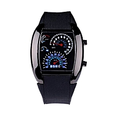 Fashion Aviation Turbo Dial Flash LED Watch Gift Mens Lady Sports Car Meter -Black