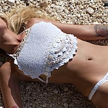 shioakp Bohemian Women Push-Up Handmade Knitted Bikini Set Swimwear Bra Swimsuit
