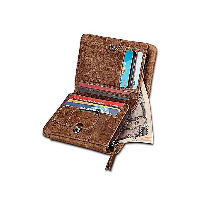 19e71b9f1560 Crazy Horse Cowhide Genuine Leather Men Wallets Short Style Fashion Male  Vintage Purse Clutch Brown