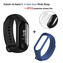 Mi Band 3 Heart Rate Monitor Smart Bracelet +Dark Blue Replacement Band +2 Free Screen Protector