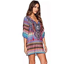 FeiTong Women Bohemian Neck Tie Vintage Printed Ethnic Style Summer Shift Dress