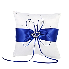Bowknot Stain Double Hearts Ring Pillow (Blue)