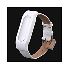 New Adjustable PU Leather Strap With PC Case For Smart Bracelets - White