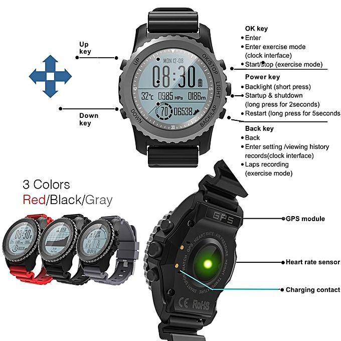 3 28 G07 GPS Men's Multisport Smart Watch Bluetooth IP68 Waterproof  Snorkeling Dynamic Heart Rate GPS Tracker Smartwatch(#Black )