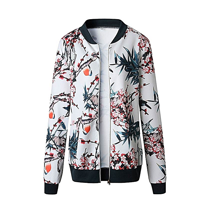 6d7910732550 husksp Womens Ladies Retro Floral Zipper Up Bomber Jacket Casual Coat  Outwear - Blue - M