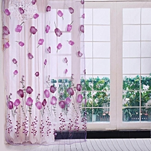 100*200cm Tulips Printing Tulle Curtains Sheer Drape Purple