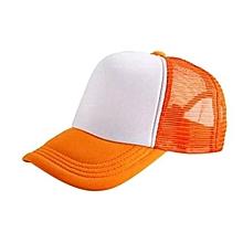 New Arrival Adjustable Child Solid Casual Hats For New Classic Trucker Summer Kids Baseball Golf Mesh Cap Sun Hats(Orange)